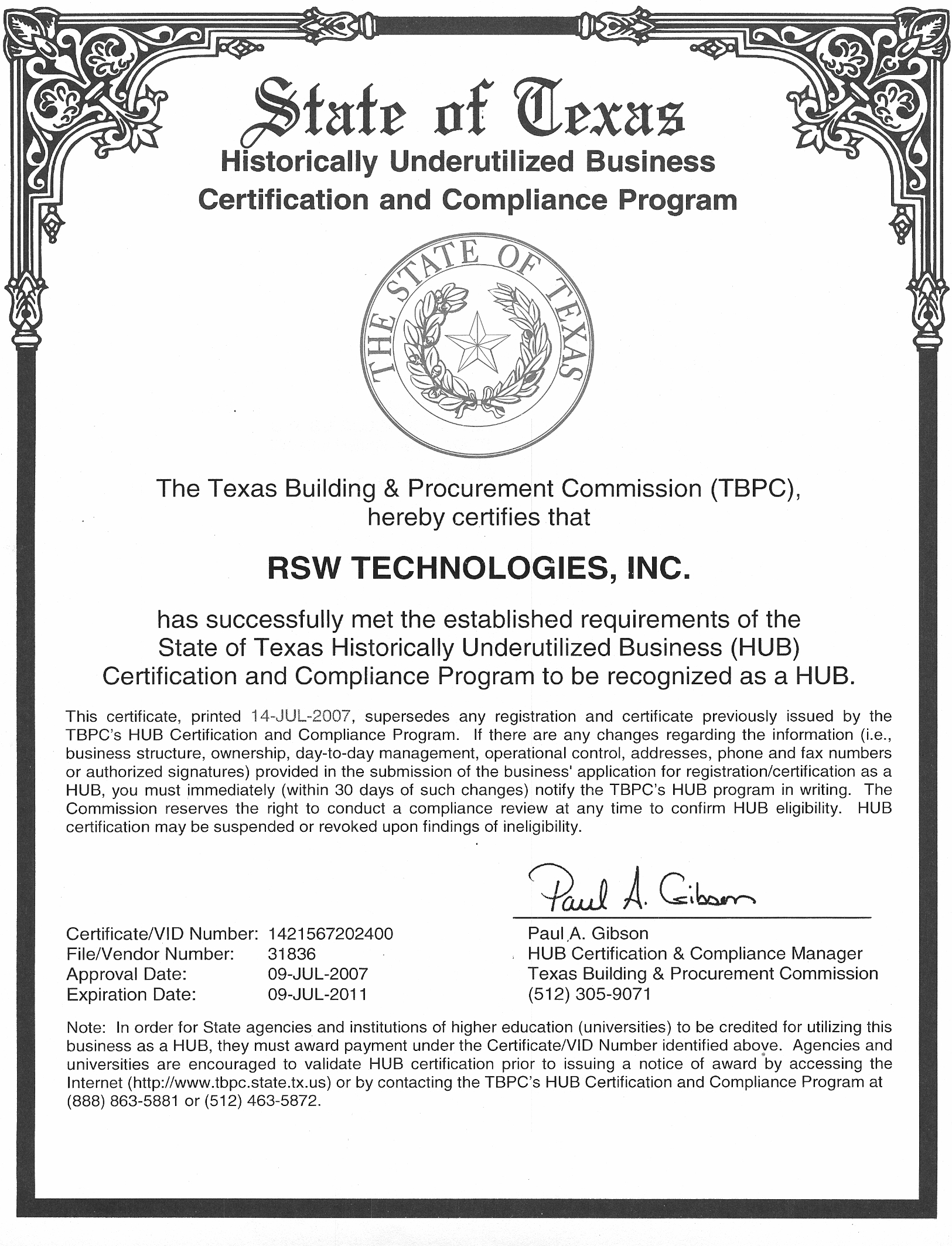 Rsw technologies inc services hub certification state of texas 1betcityfo Choice Image